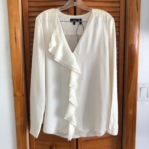Theory Tops - NEW Theory 100% Silk Jastrid Ivory Ruffle Blouse